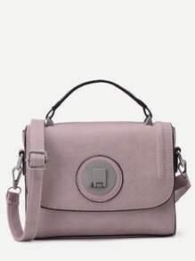 Pink PU Flap Handbag With Strap