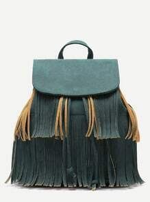 Green PU Tassel Fringe Drawstring Backpack