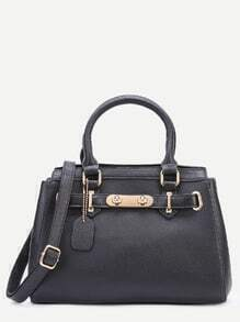 Black Pebbled PU Handbag With Strap