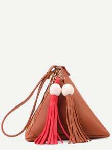 Brown PU Tetrahedron Design Tassel Trim Zip Closure Handbag