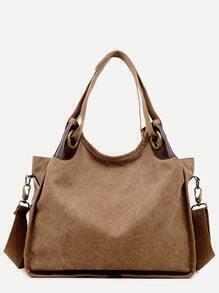 Khaki PU Trim Canvas Hobo Bag With Strap