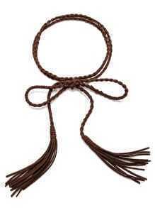 Coffee Tassel Thin Braided Rope Belt