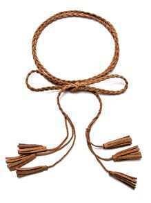 Camel Multi Tassel Thin Braided Rope Belt