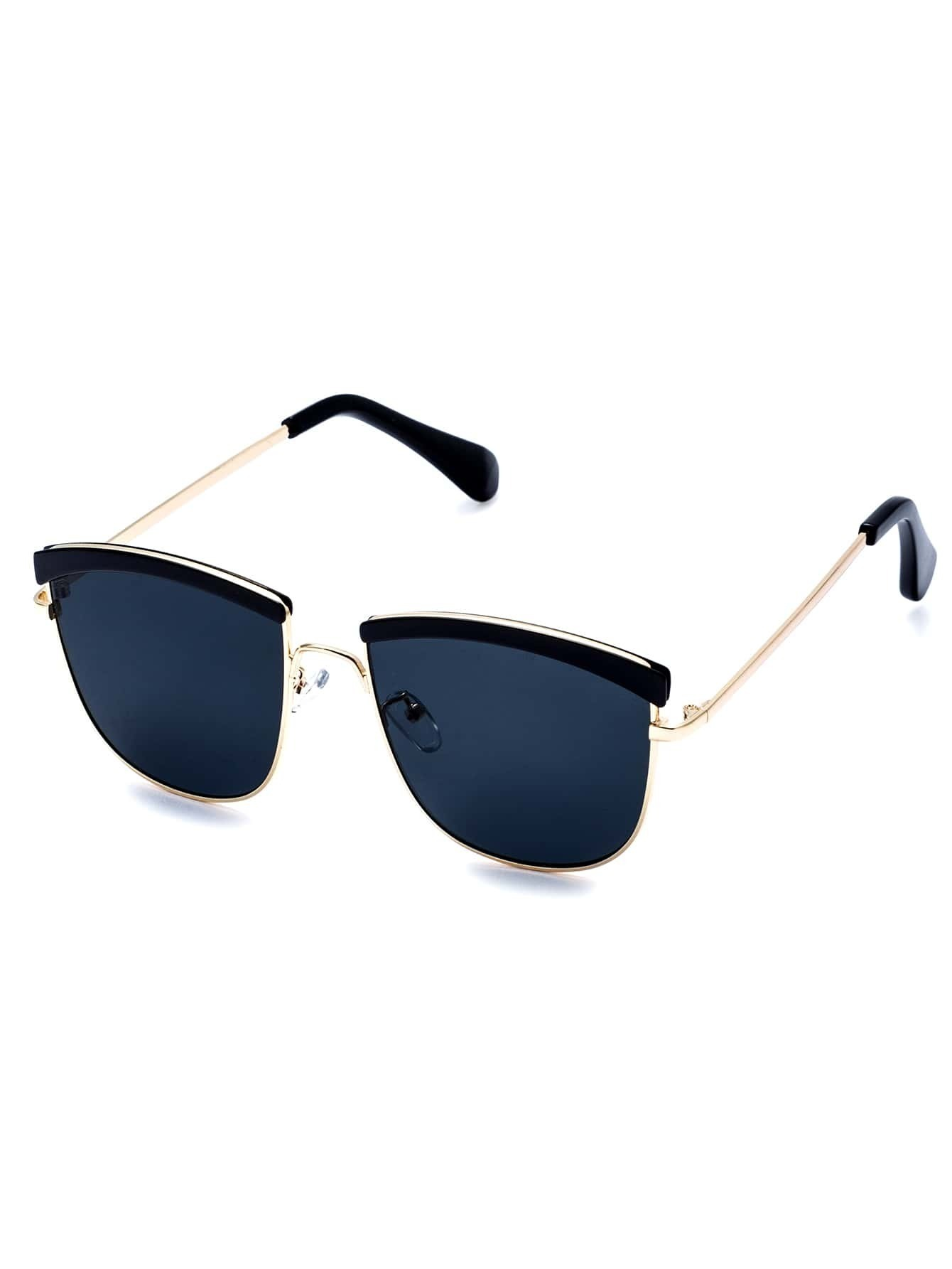 Gold Frame Black Lenses Sunglasses : Gold Open Frame Black Lens Sunglasses