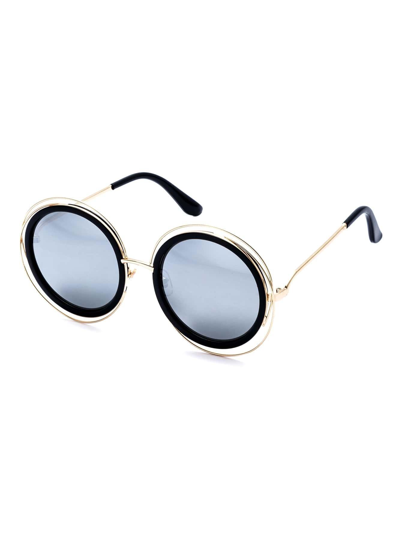 Gold Frame Grey Round Lens Sunglasses