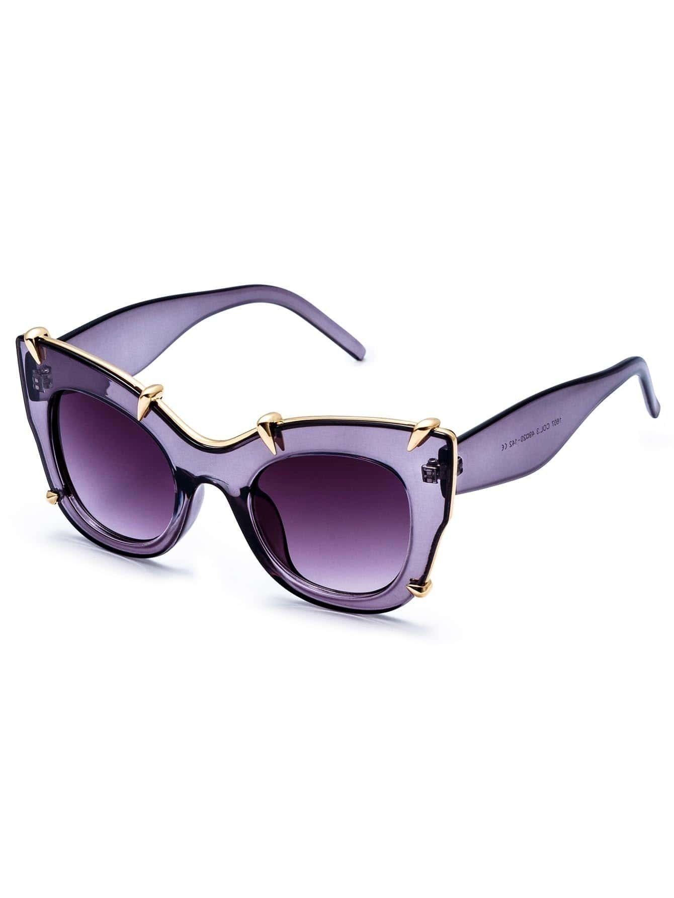 Purple Clear Frame Gold Trim Cat Eye Sunglasses