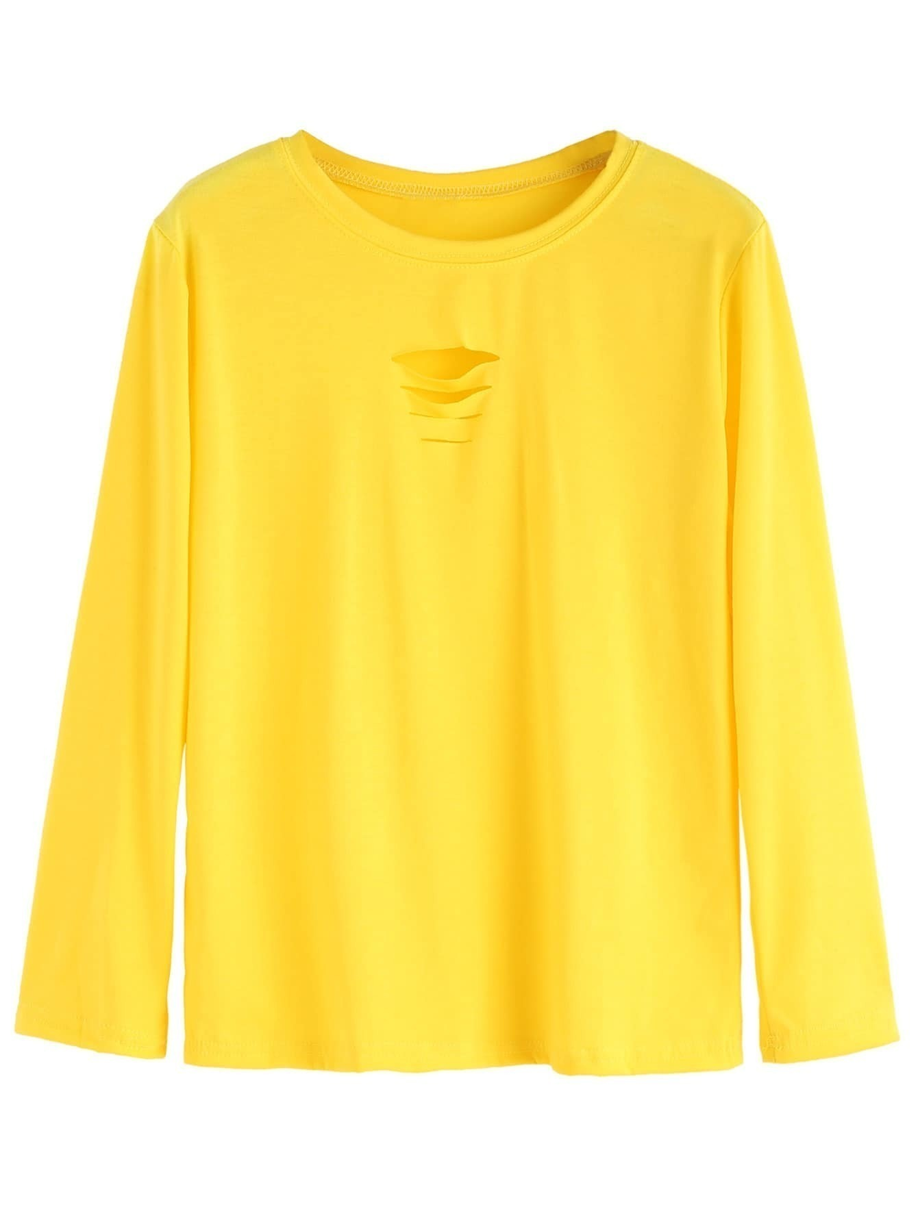 Yellow Ripped Long Sleeve T Shirtfor Women Romwe