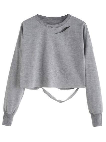 Light Grey Drop Shoulder Cut Out Crop T-shirt