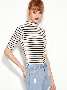 Black White Striped High Neck Slim T-shirt