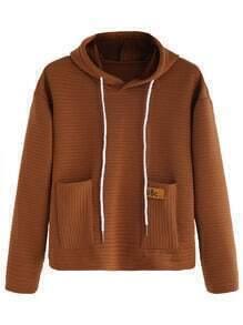 Khaki Striped Textured Hooded Sweatshirt With Pocket