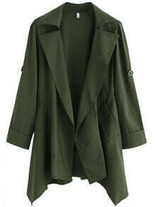 Green Asymmetrical Back Belt Trench Coat