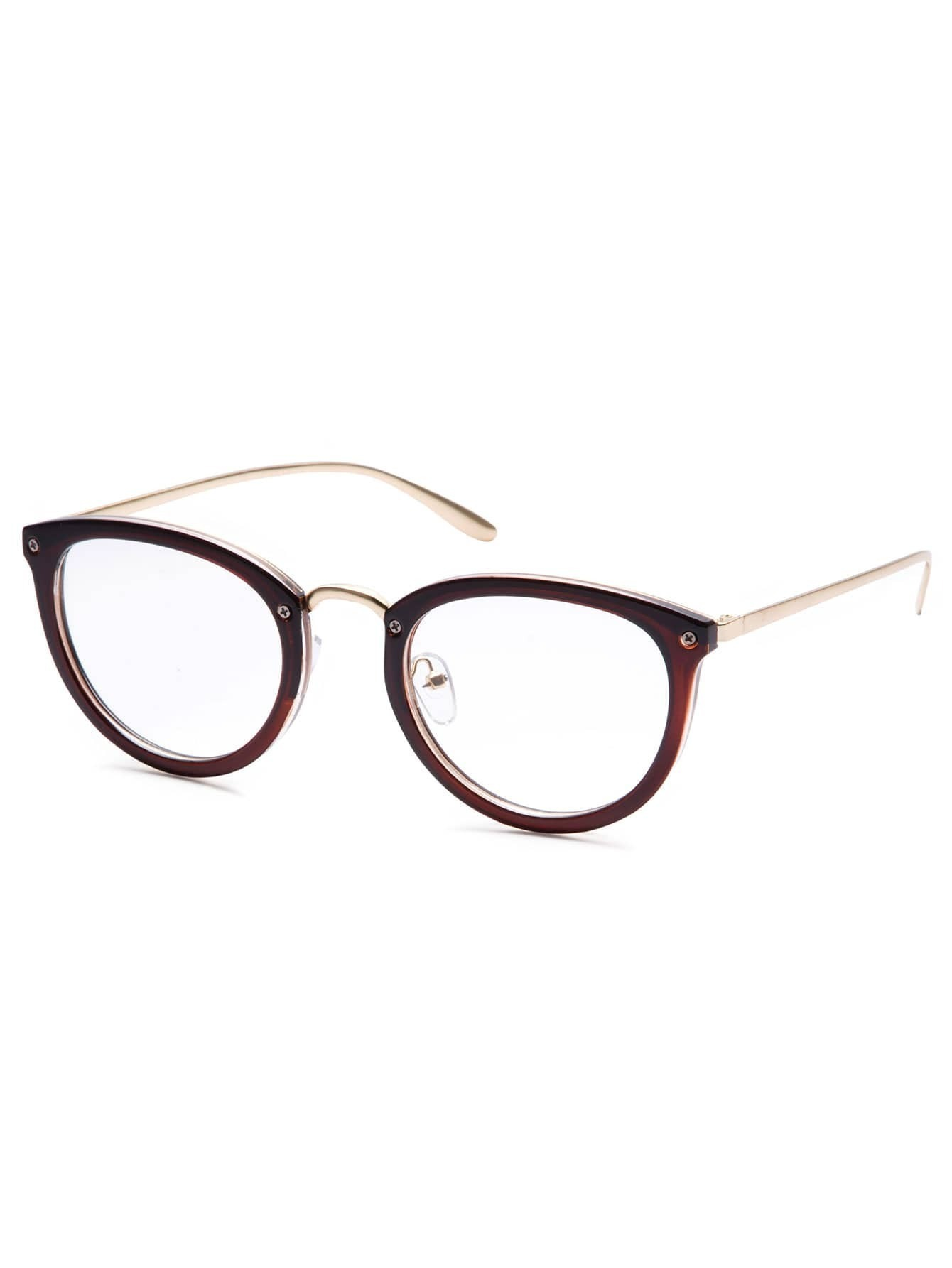 Glasses Frames With Removable Arms : Brown Frame Gold Arm Glasses