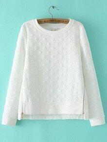 Sweat-shirt à pois avec zip à côté - blanc