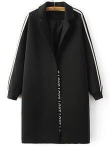 Black Striped Side Drop Shoulder Long Coat