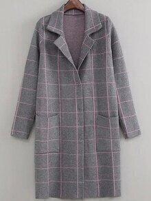 Langer Mantel Revers mit Taschen - grau