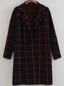 Black Grid Lapel Long Coat With Pockets