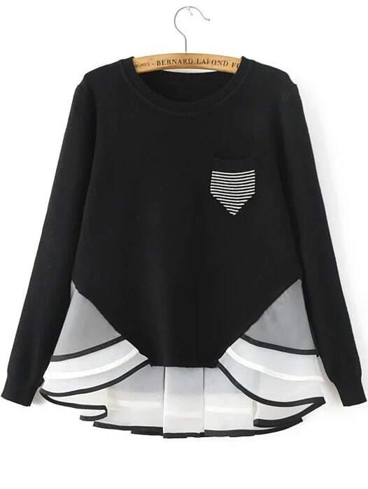 Black Striped Contrast Hem Pocket Knitwear