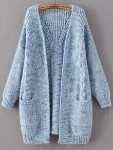 Blue Marled Knit Long Sweater Coat With Pocket