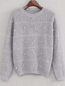 Grey Drop Shoulder Beaded Sweater
