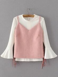 Pink Lace Up Side Suede Top With Bell Sleeve T-shirt