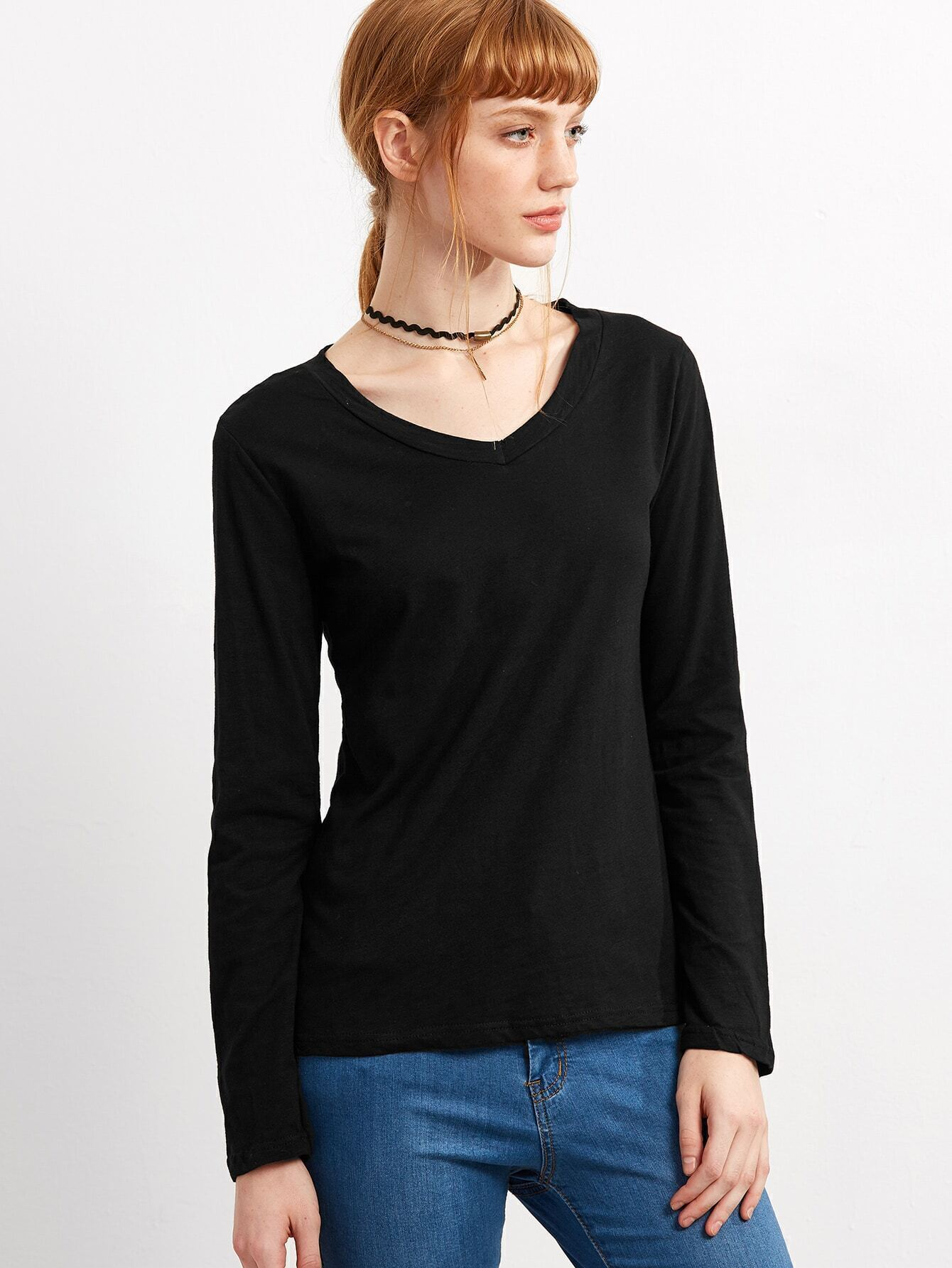 Buy the latest v neck long sleeve black t shirt cheap shop fashion style with free shipping, and check out our daily updated new arrival v neck long sleeve black t shirt at xajk8note.ml