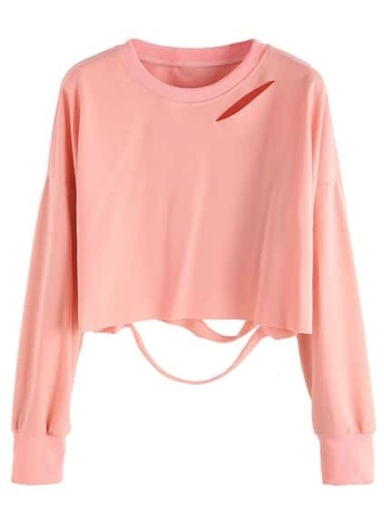 Pink Drop Shoulder Cut Out Crop T-shirt