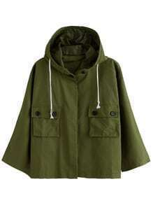Army Green Dual Pocket Front Drawstring Hooded Coat