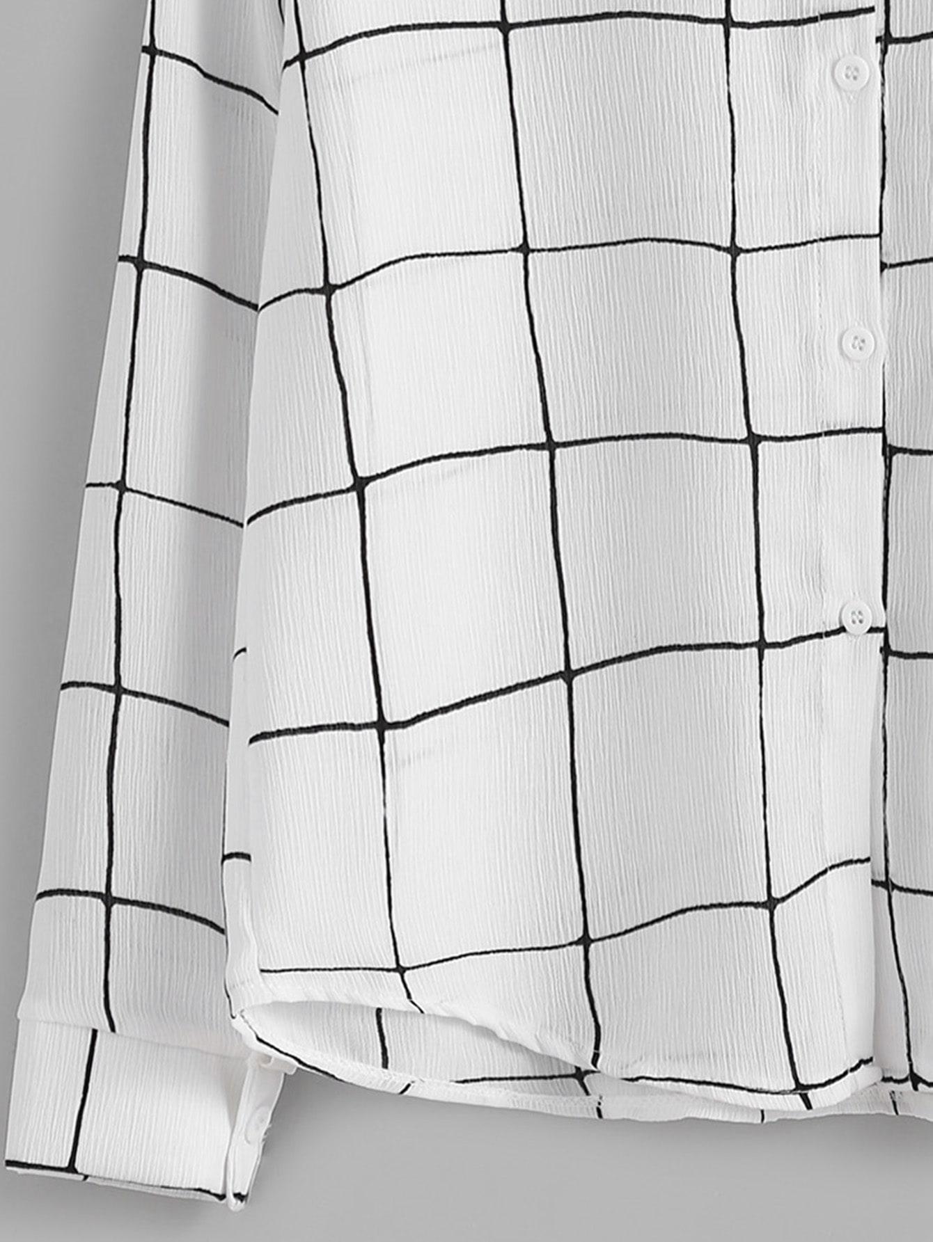 Blusa de cuadros con botones blanco spanish romwe - Cuadros con botones ...