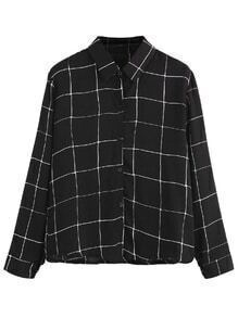 Black Plaid Buttons Shirt