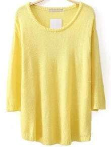 Jersey con cuello redondo y manga 3/4 - amarillo