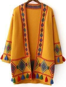 Cárdigan con estampado tribual y flecos - amarillo