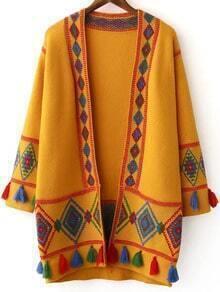 Ginger Tribal Pattern Fringe Detail Cardigan