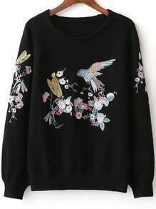 Pullover Raglanärmel Vogel Stickerei-schwarz