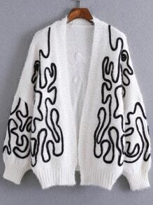 White Batwing Sleeve Open Front Cardigan