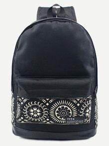 Black Tribal Print Front Pocket Canvas Backpack