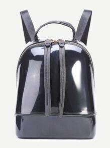 Black Zip Closure Double Strap PVC Backpack