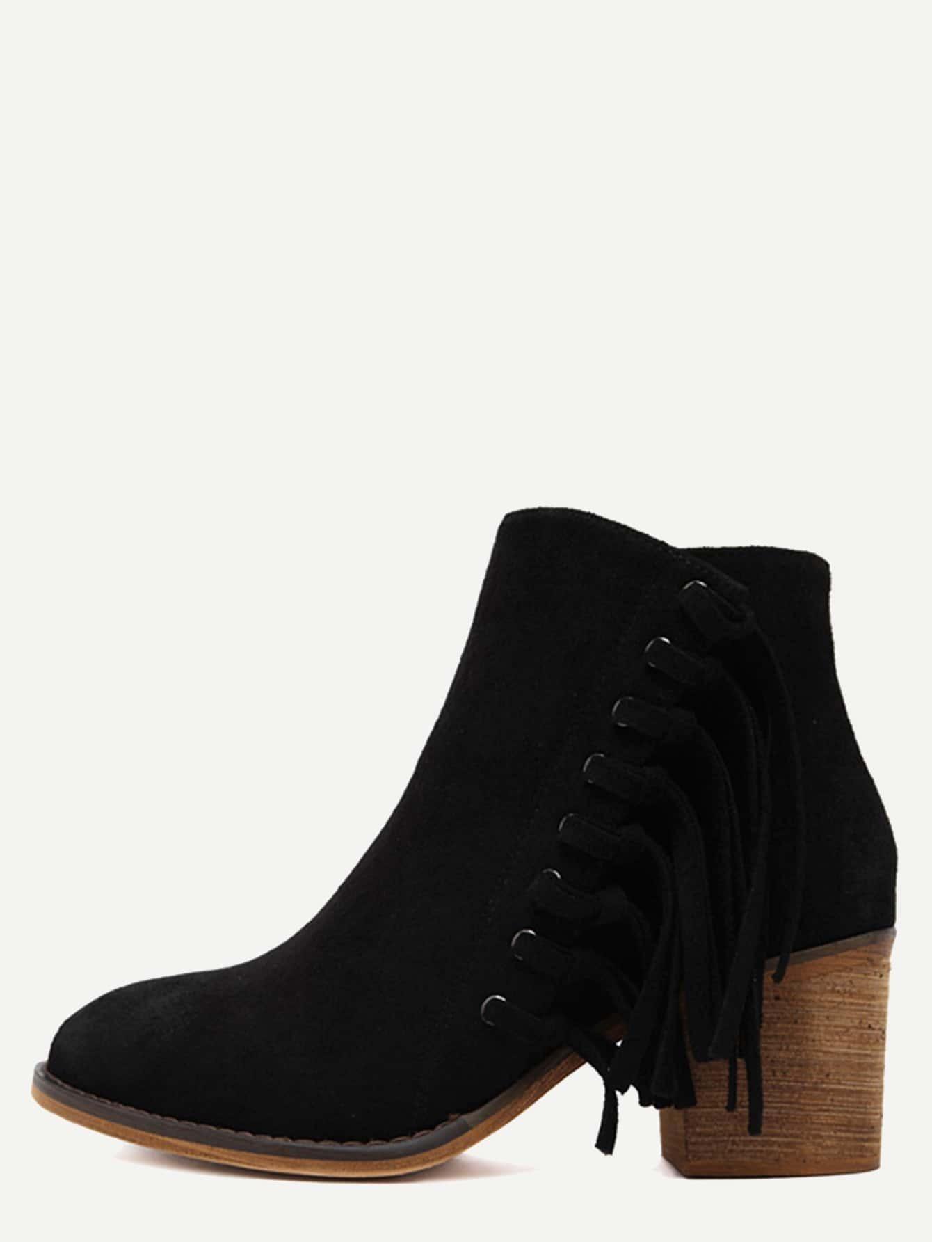 black faux suede tassel trim cork heel ankle boots