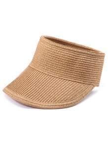 Khaki Wide Brim Straw Visor Cap