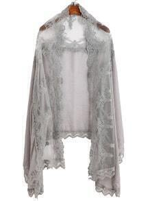 Grey Floral Lace Voile Scarf