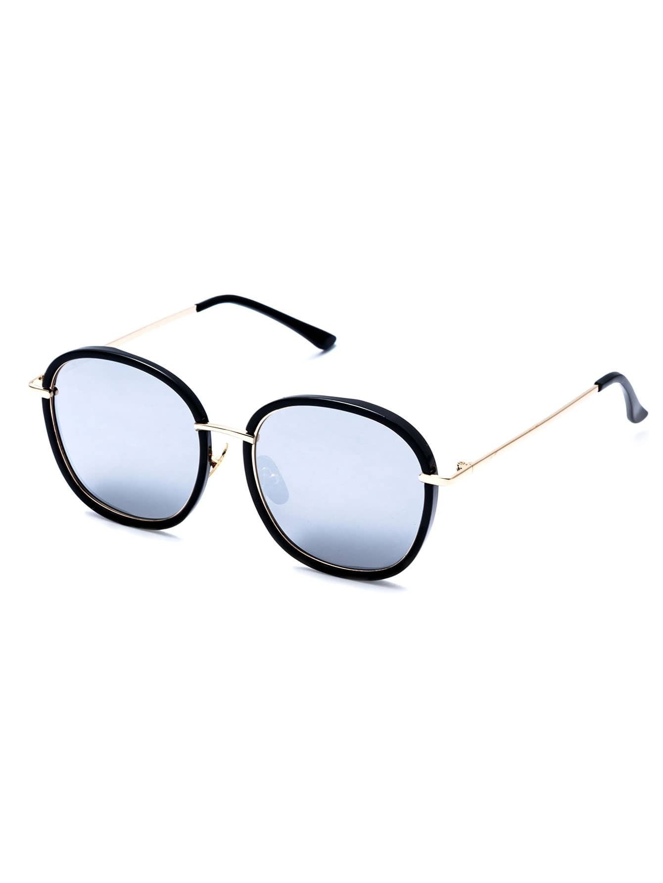 Big Gold Frame Sunglasses : Black Frame Large Lens Gold Arm Sunglasses