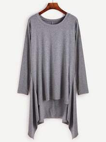 Grey Dip Hem Loose Long T-shirt
