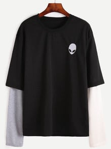 Contrast Long Sleeve Alien Embroidered T-shirt