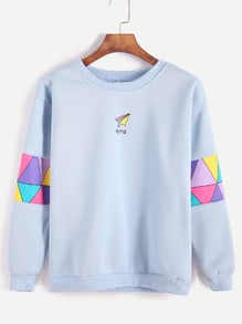 Sweatshirt Patchwork Druck -hellblau