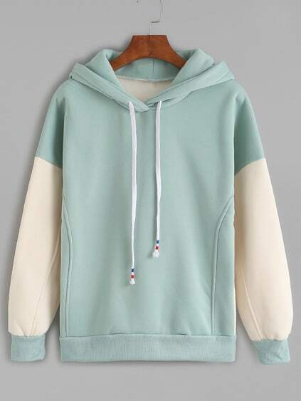 Green Contrast Sleeve Drawstring Hooded Sweatshirt