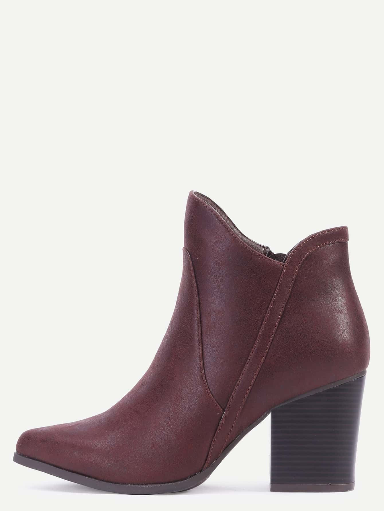 brown toe faux leather chunky heel boots