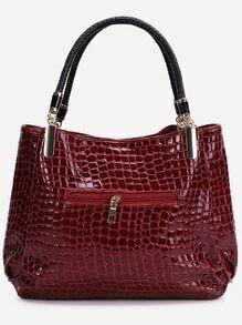 Red Crocodile Embossed PU Tote Bag