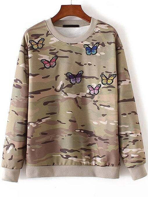 Butterfly Embroidery Ribbed Trim Camouflage Sweatshirt sweatshirt160919201