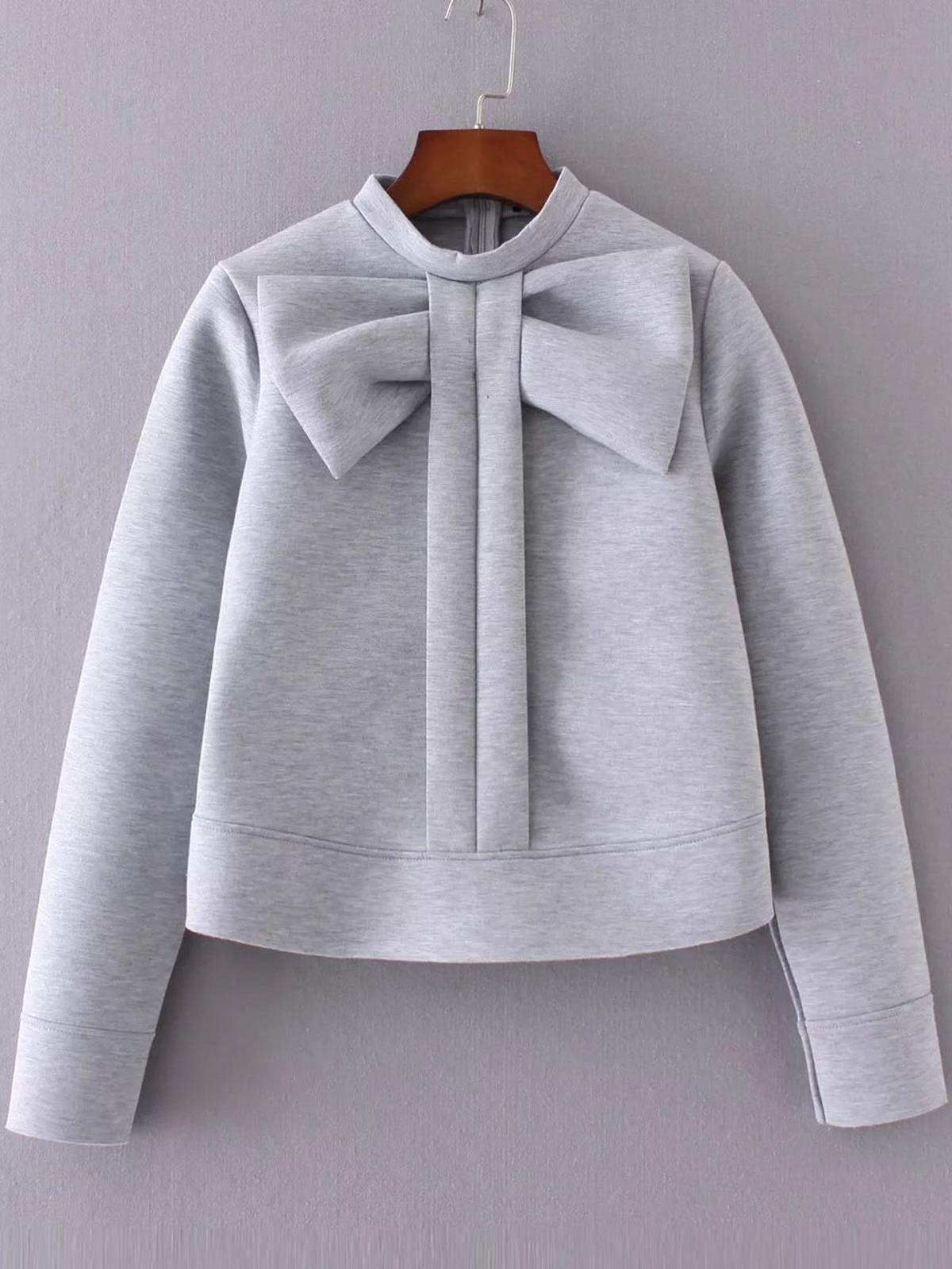 灰色 蝴蝶結 裝飾 圓領 T恤衫