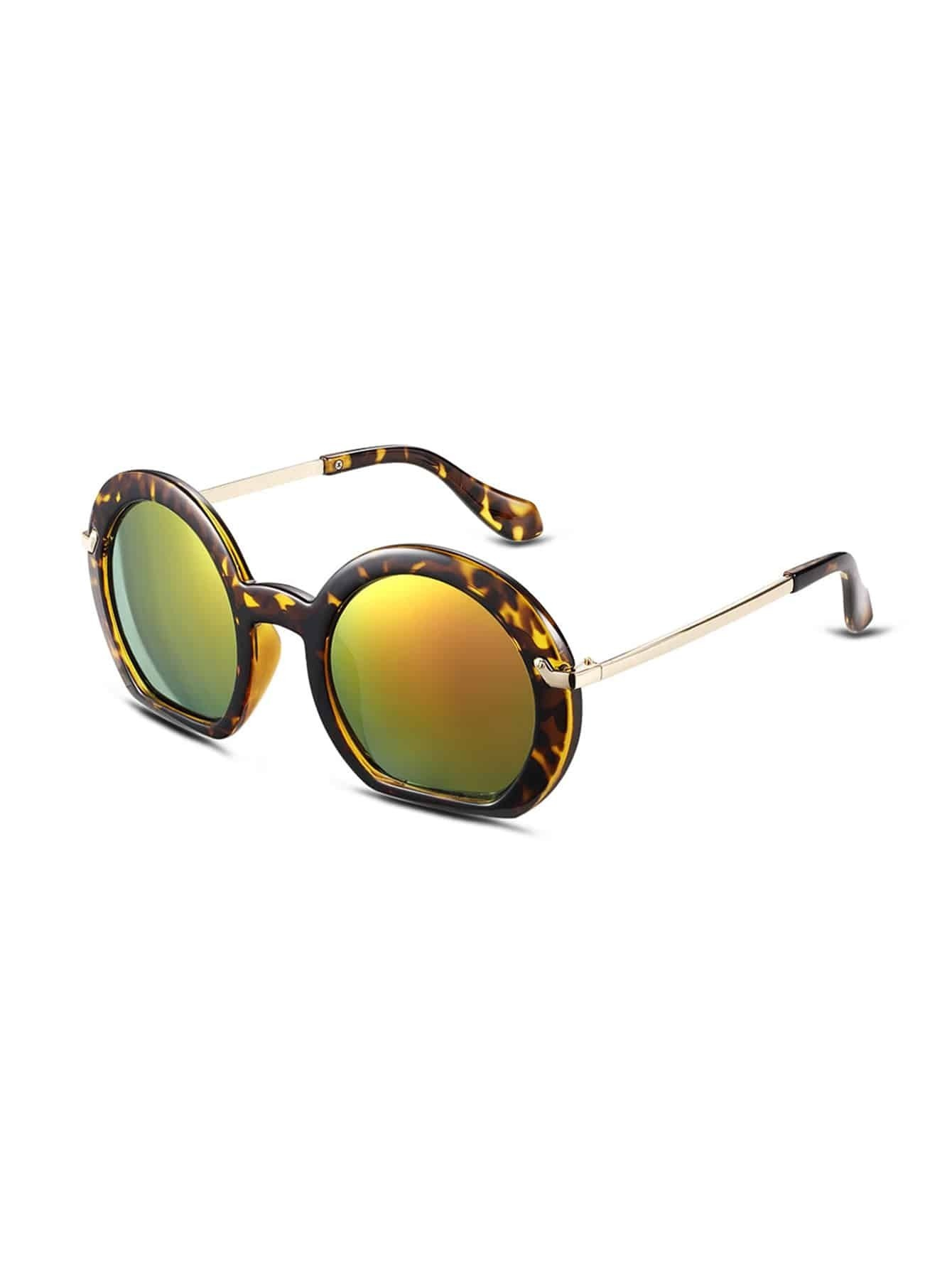 Big Gold Frame Sunglasses : Yellow Tortoise Frame Large Lens Gold Arm Sunglasses
