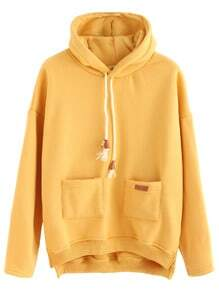 Yellow Slit Side High Low Hooded Sweatshirt